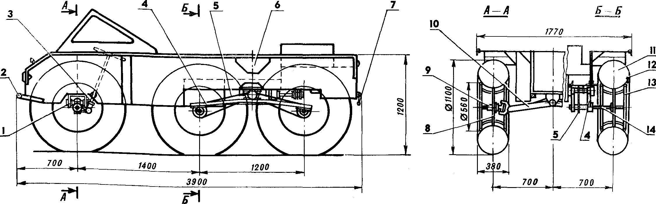 Fig. 1. Three-axle all-terrain vehicle on low pressure tires design G. Vidyakina.