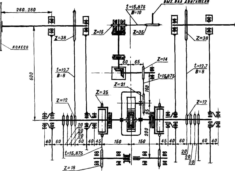 Рис. 7. Кинематическая схема вездехода. Латинскими буквами обозначено.