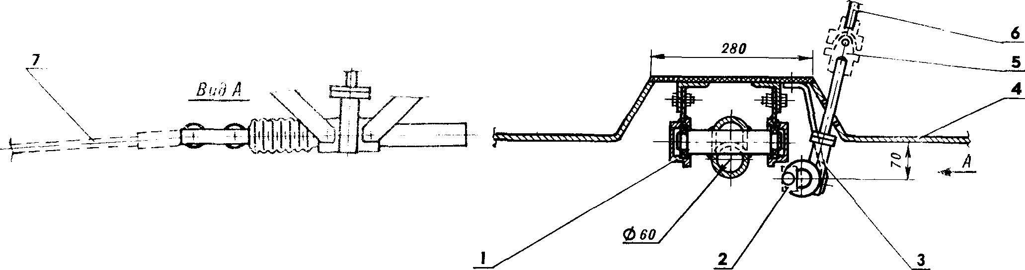 Рис. 2. Рулевое устройство и опора переднего моста.
