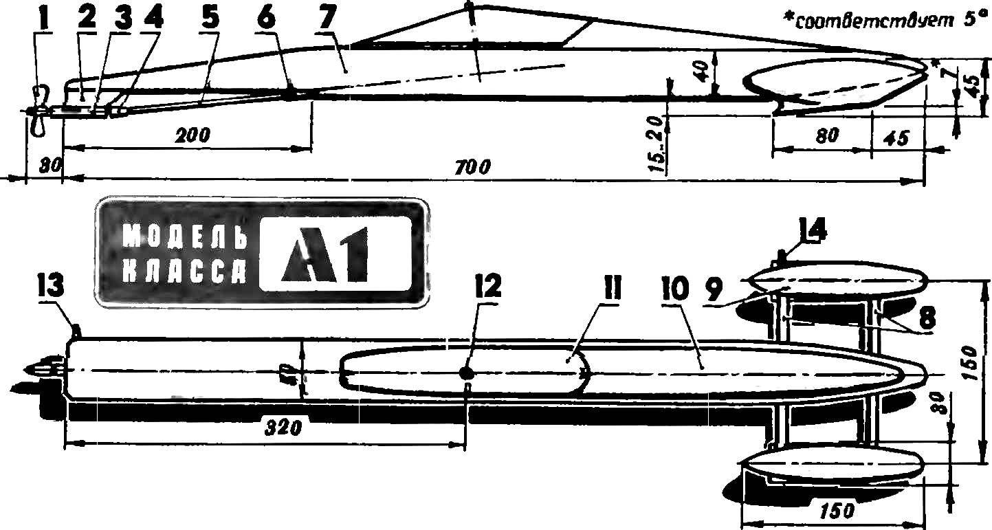 Fig. 1. Model glider with the propeller and the engine working volume of 2.5 cm3.