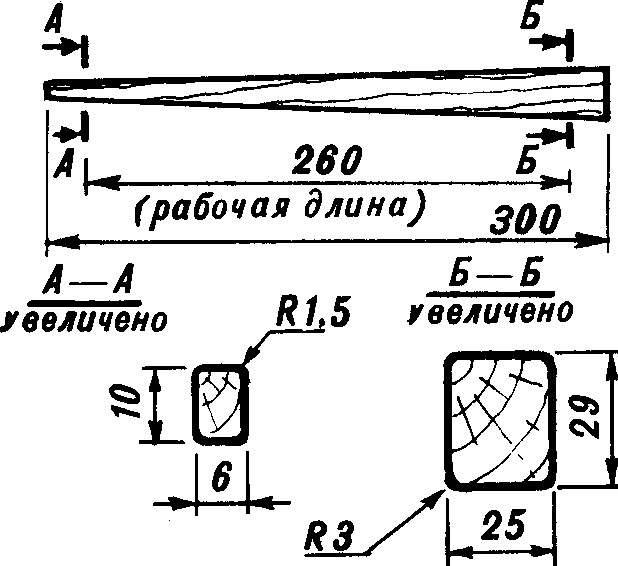 Рис. 4. Оправка для выклейки трубчатой балки корпуса (липа, осина или береза, поверхность вощить или оклеить полиэтиленовой пленкой).
