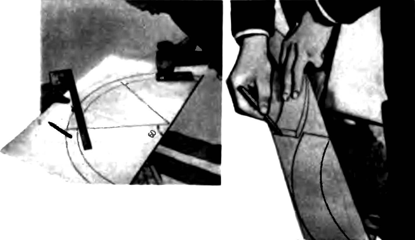 Выпиливание электролобзиком фанерного шаблона, предназначенного для разметки элементов арки дверного проема.