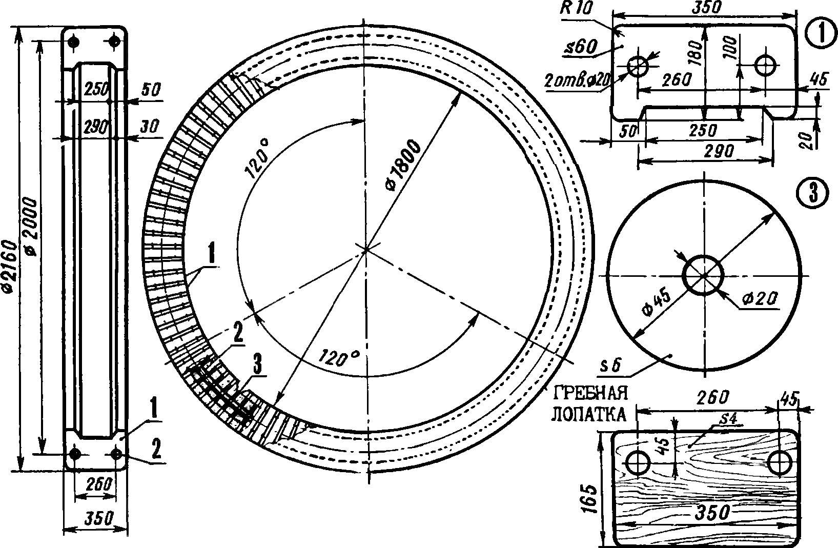 Рис. 1. Водное колесо в сборе.