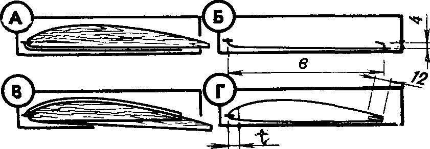 Последовательность (обозначена буквами) построения промежуточных нервюр на заготовках.