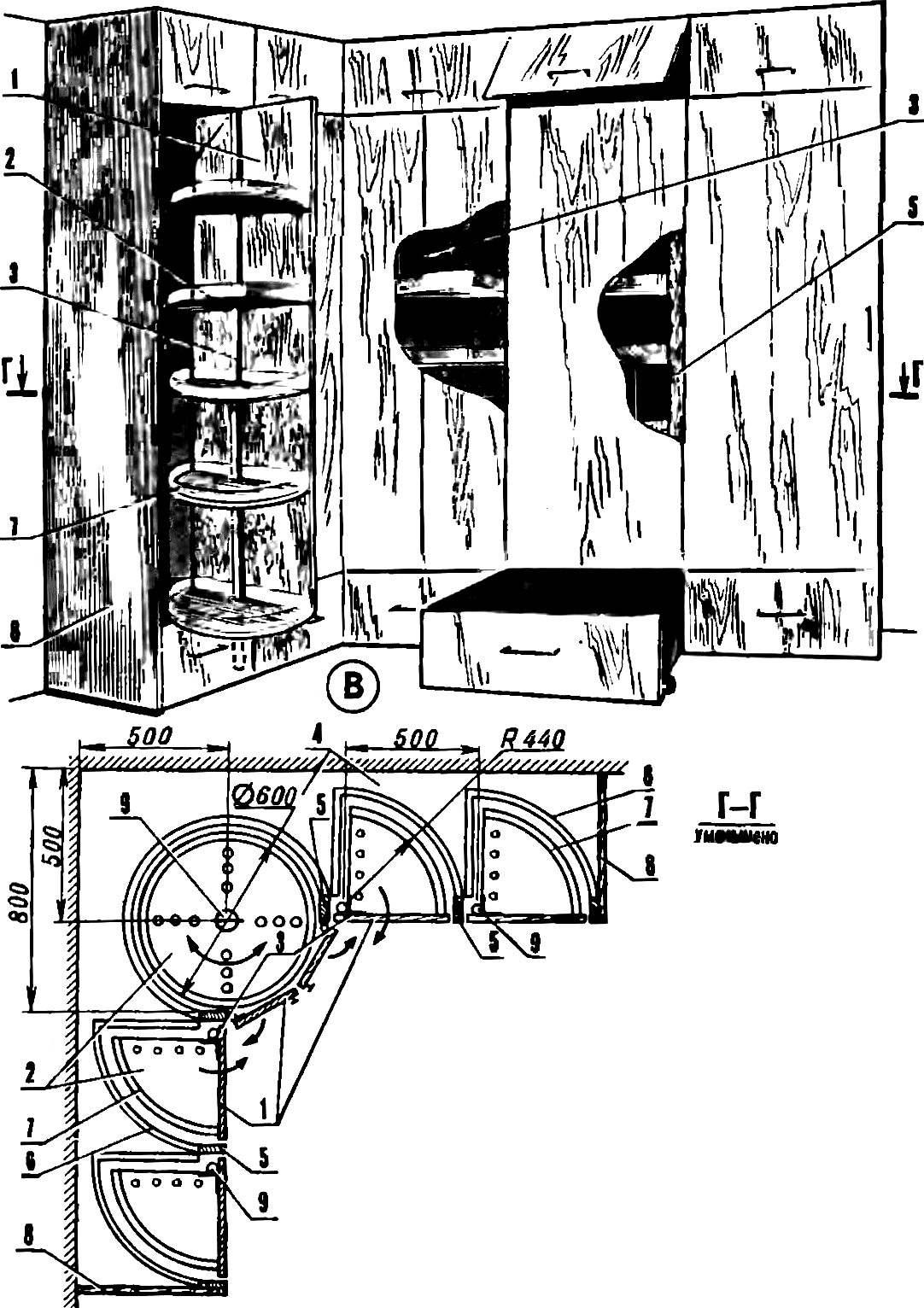 Мебельные стенки с поворотными полками.