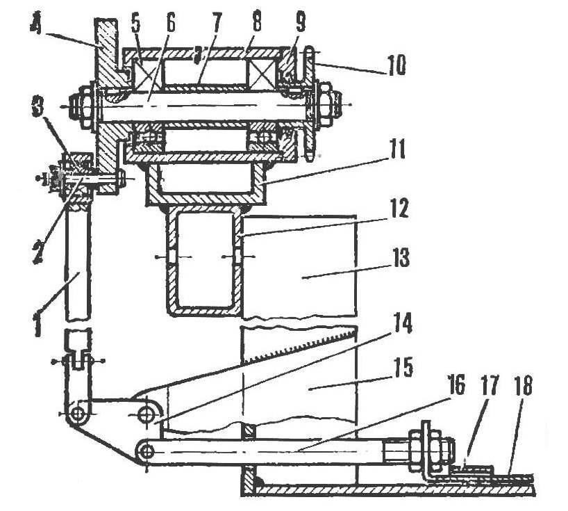Р и с. 6. Вал отбора мощности с приводом носилки