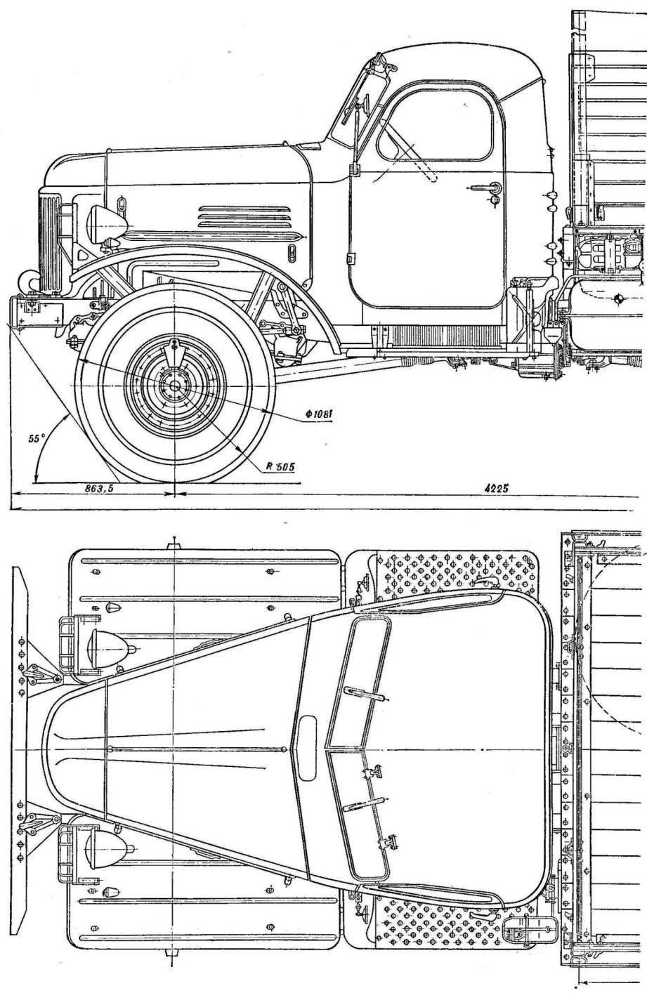 Рис. 1. Автомобиль ЗИЛ-157 (вид сбоку и сверху).