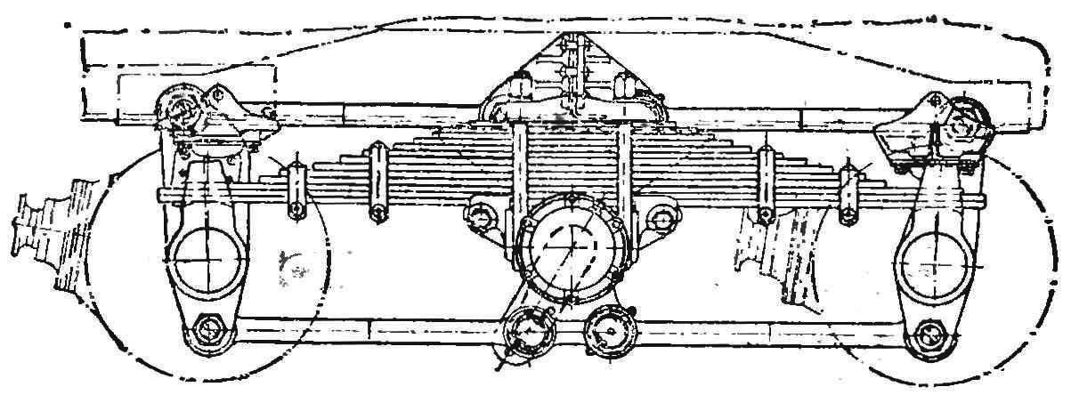 Р и с. 4 Схема подвески задних ведущих мостов.