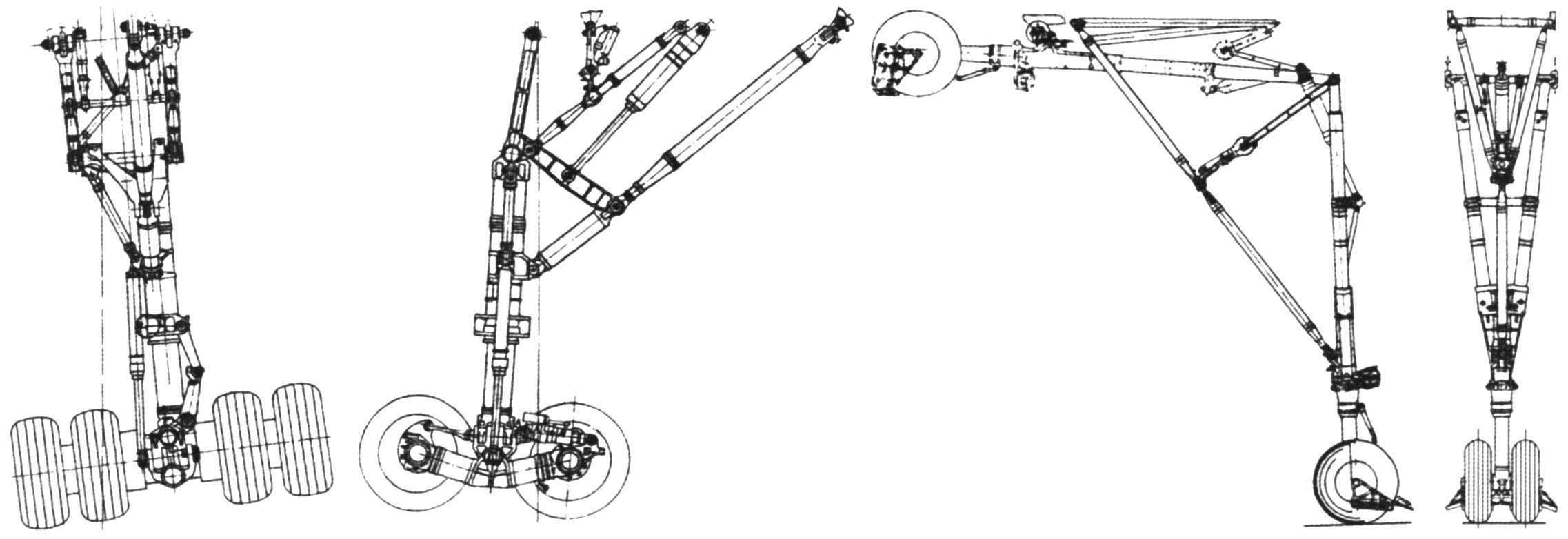 Основная (слева, без нагрузки) и передняя (справа) опоры шасси