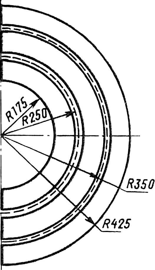 Разметка шаблонов для изготовления скругленных участков трассы.