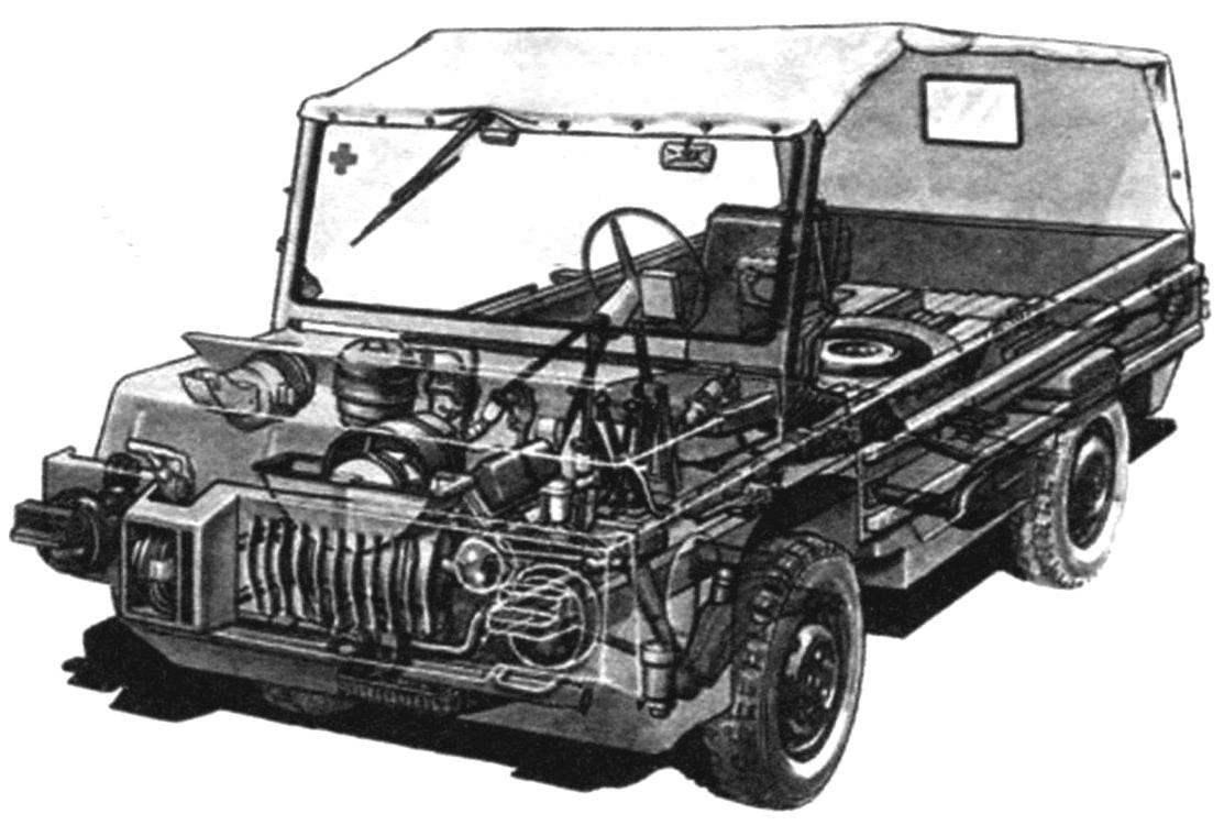 Компоновка транспортёра ЛуАЗ-967