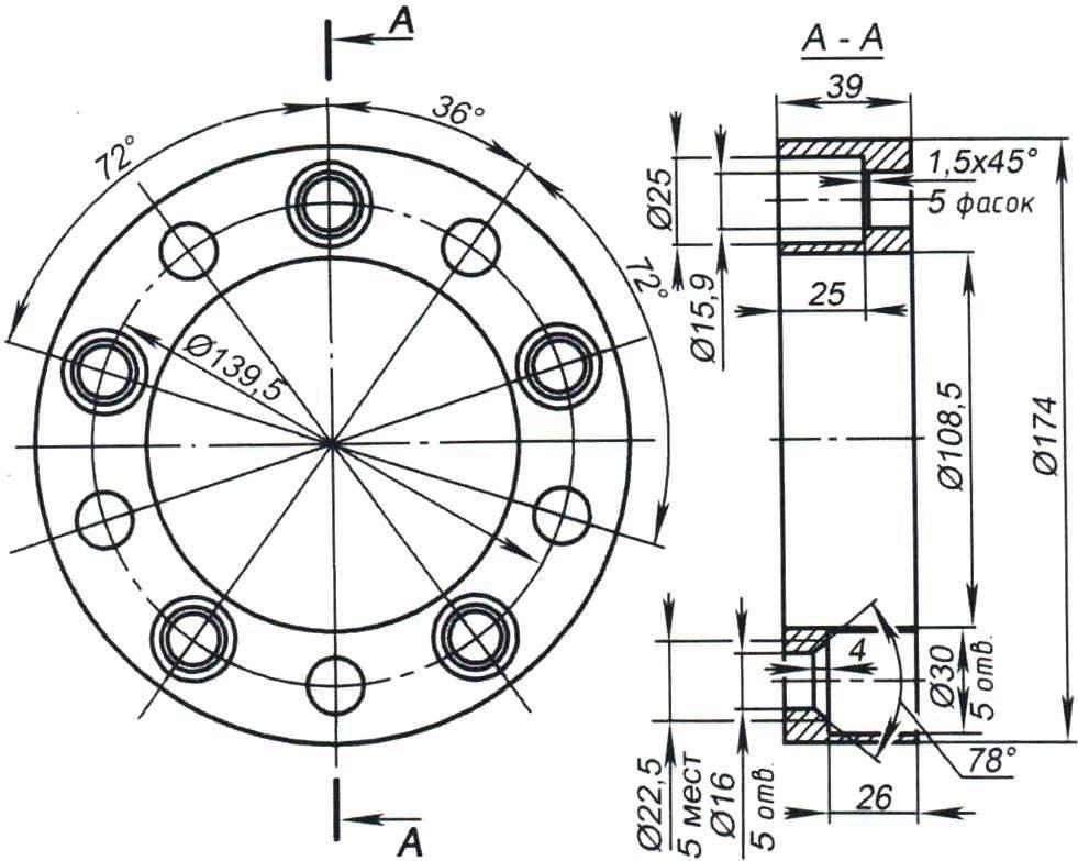 Колёсная проставка между тормозным барабаном и колёсным диском (4 шт.)