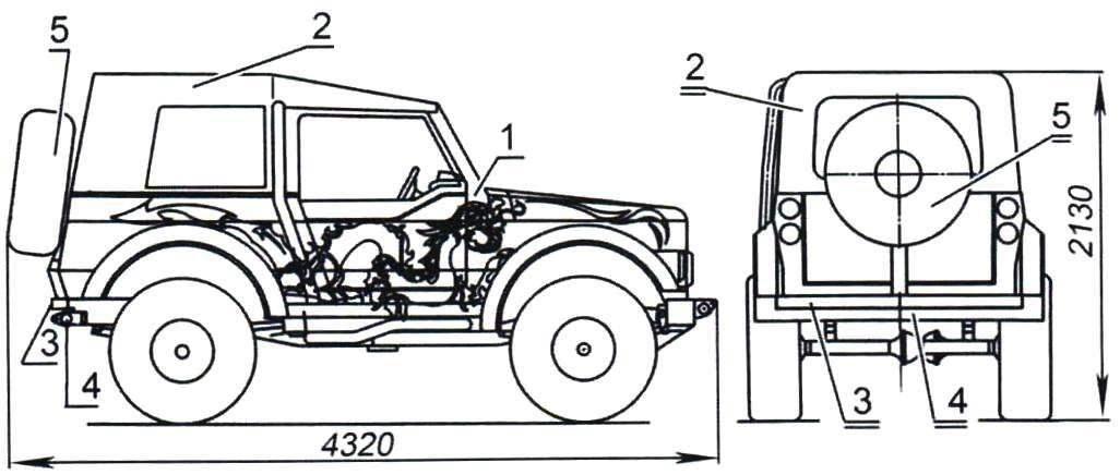 «Рыжик» под тентом и запасным колесом на поворотной консоли («калитке»)