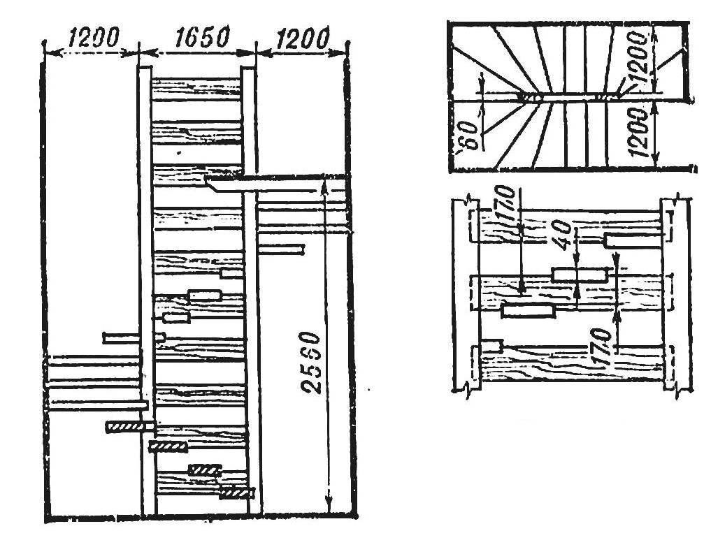Рис. 1. Лестница с вертикальными опора