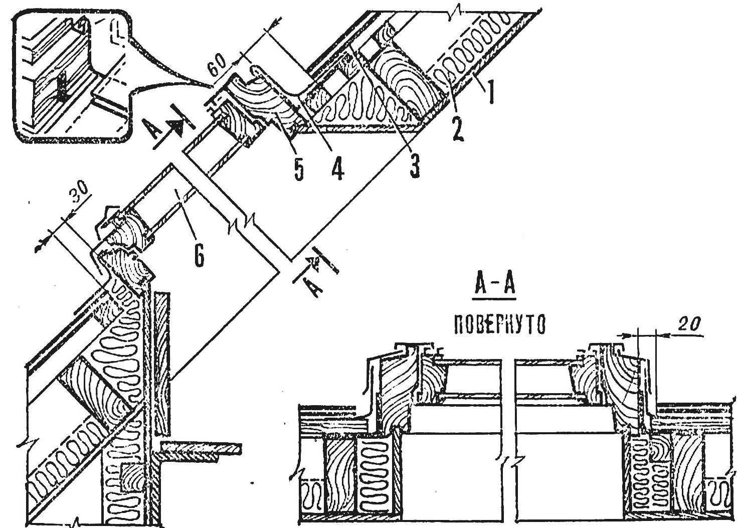 Р и с. 3.Вариант устройства окна для крыши из шифера: