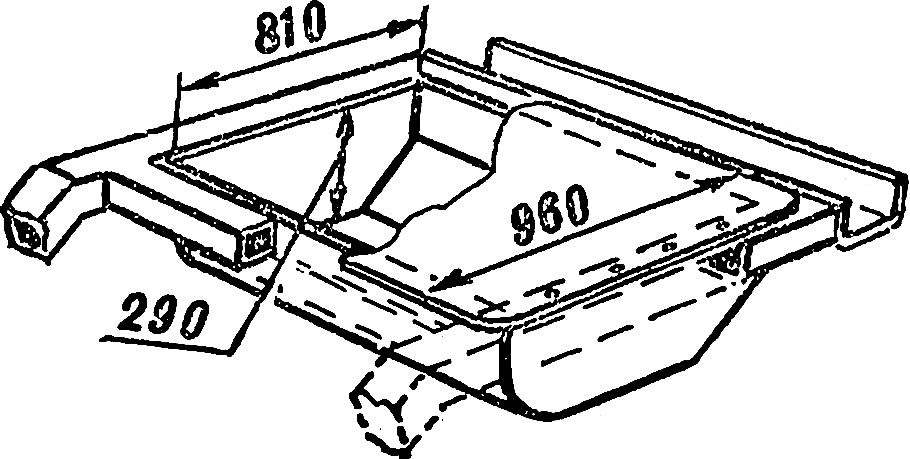 Рис. 8. Схема установки бензобака на раме.
