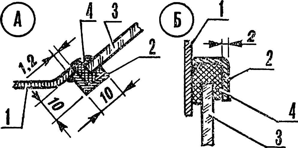 Рис. 9. Типовые узлы крепления стекол (А — лобового, Б — дверного).