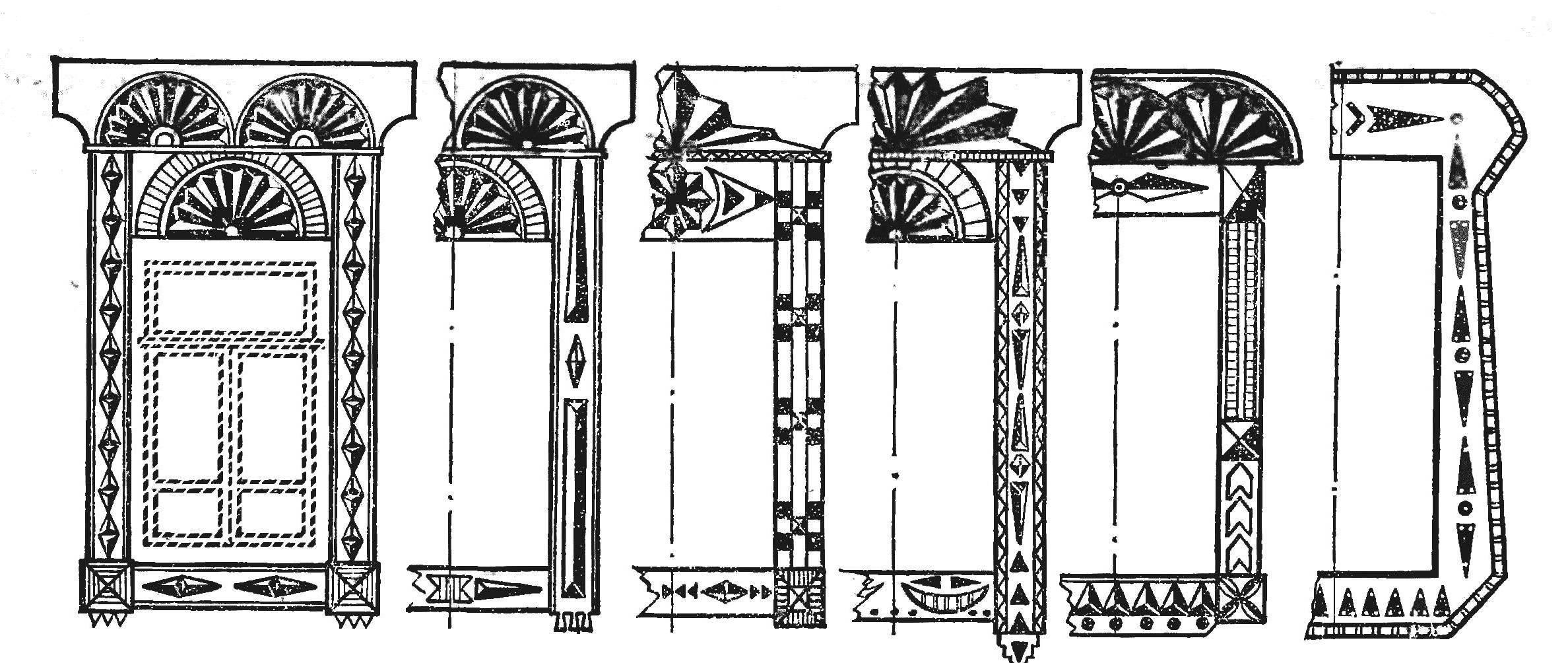 Рис. 15. Наличники с геометрическими орнаментами.