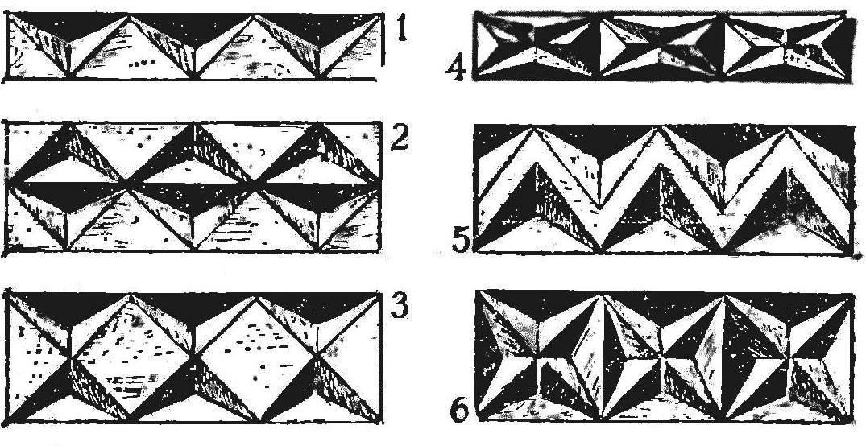 Рис. 8. Детали фриза, образованные треугольниками с углублением центра