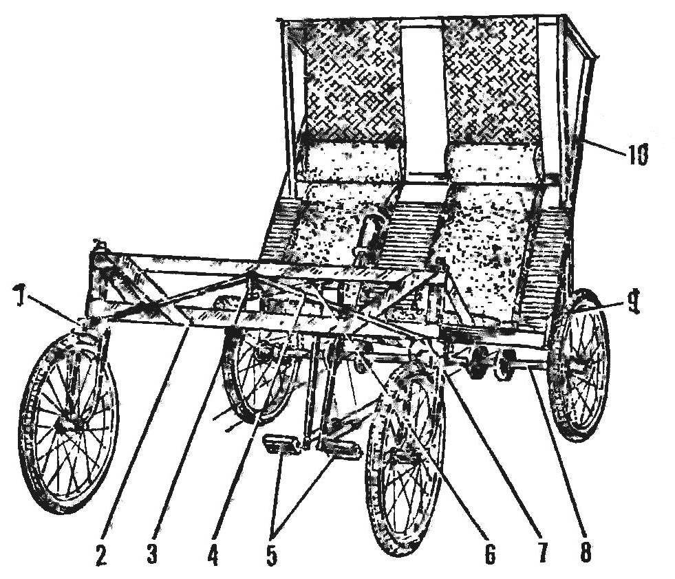 Рис. 2. Ходовая часть веломобиля (кузов снят)