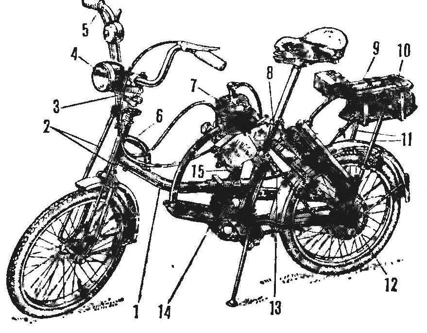 Рис. 1. Велосипед «Десна» с мотором