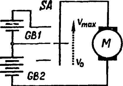 Схема двухпозиционного регулятора оборотов двигателя для мощности не более 50 Вт.