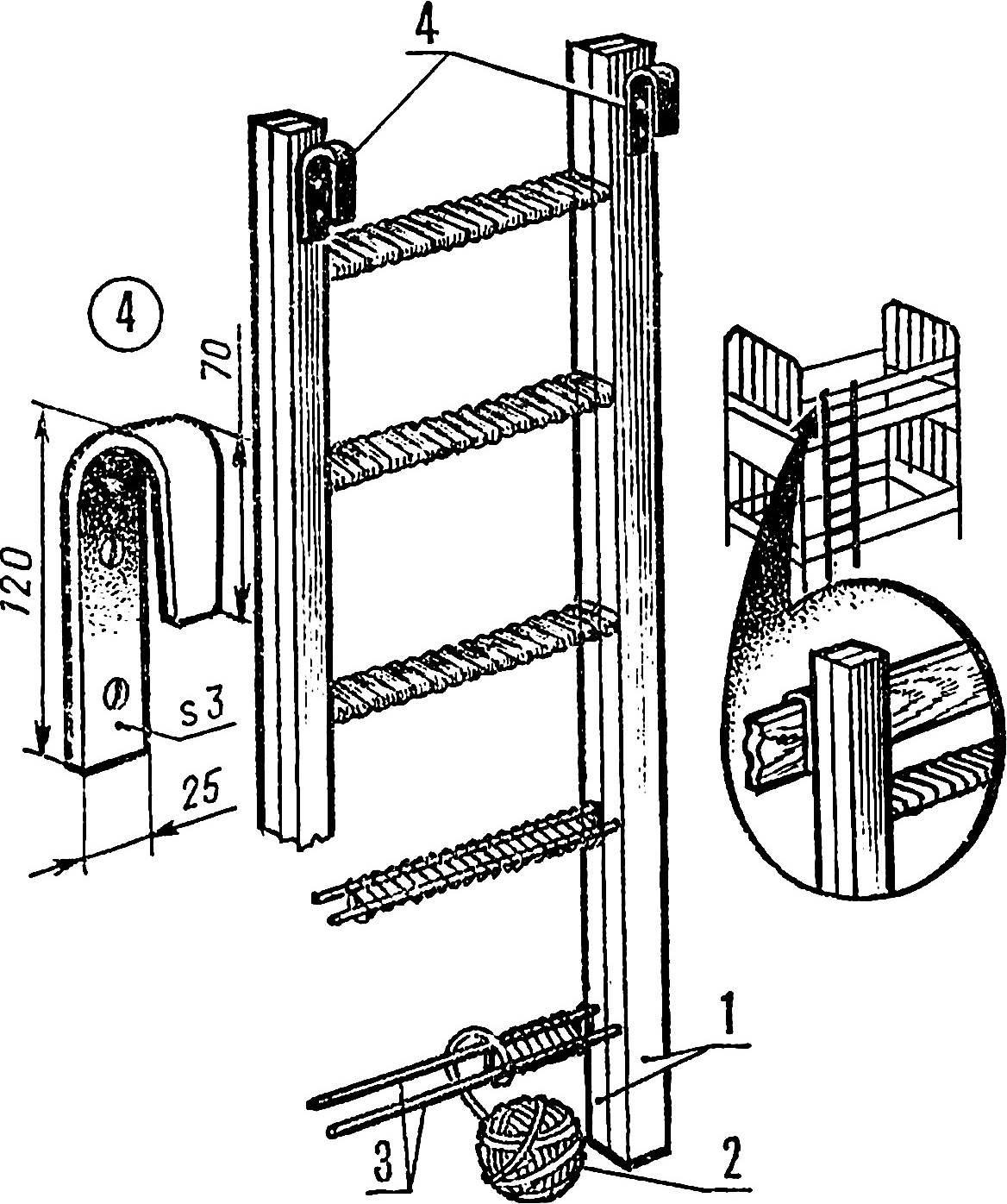 Рис. 3. Лестница из боковин детской кроватки.