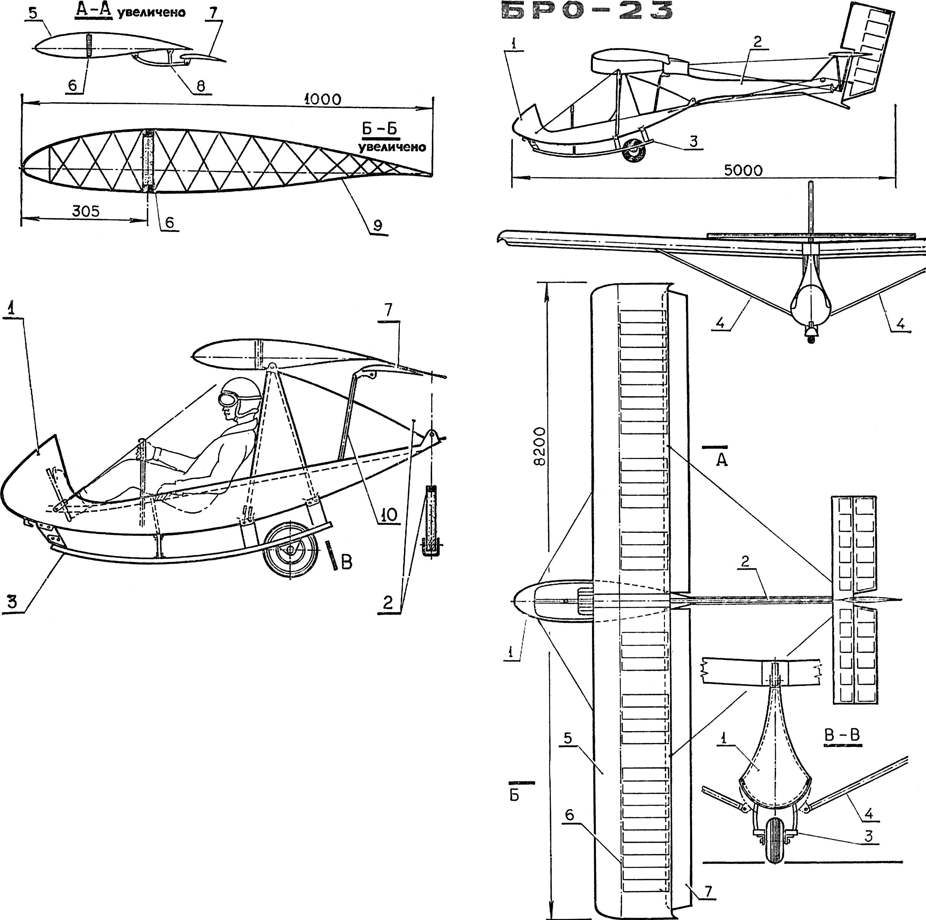 Планер БРО-23 конструкции Б. Ошкиниса.