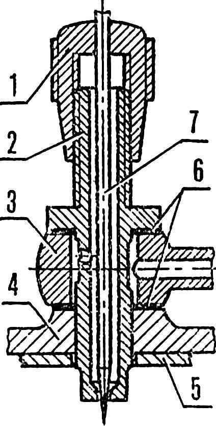 Рис. 2. Жиклер серийного двигателя.