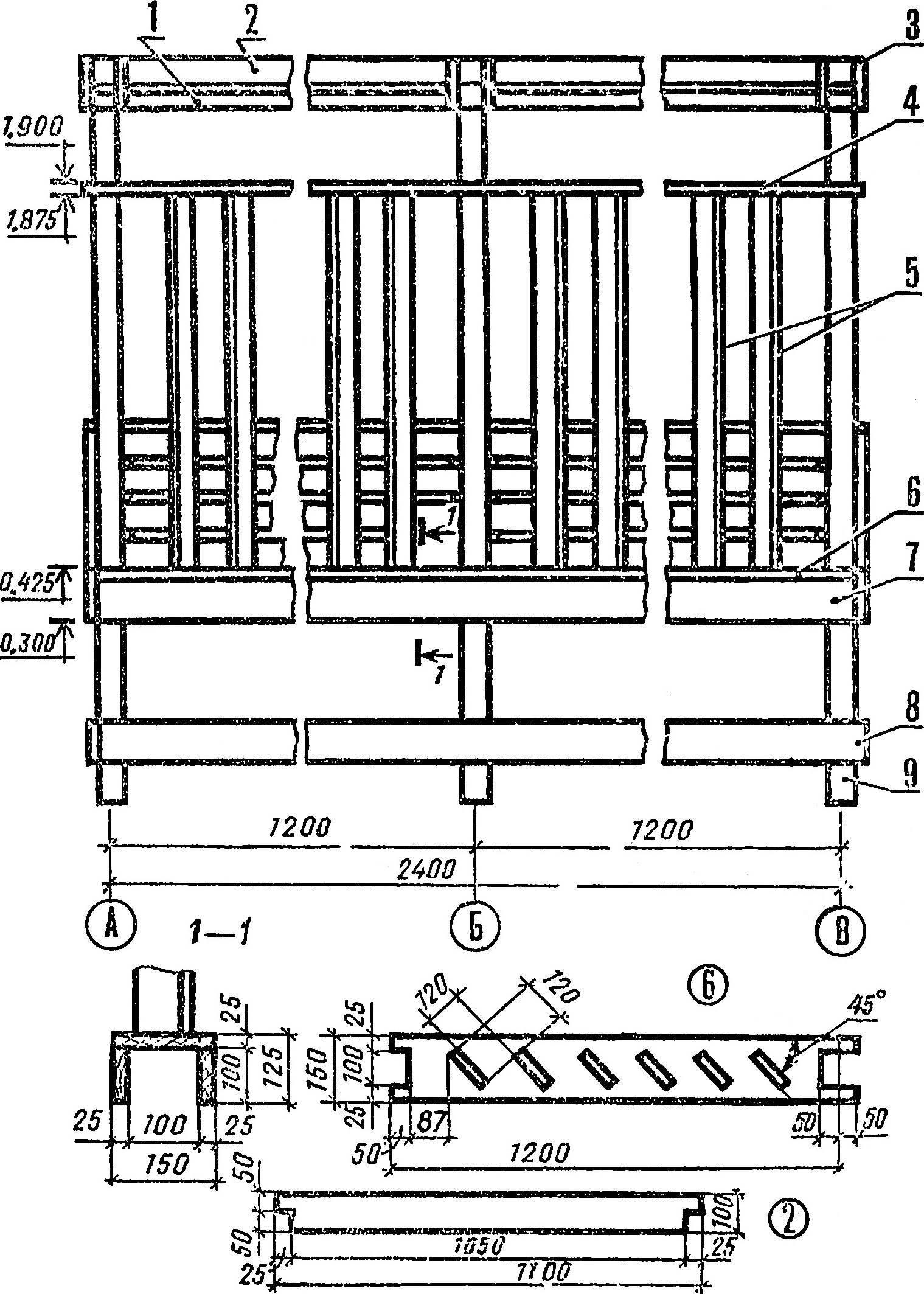 Рис. 3. Беседка с перголой (фасад А — В).