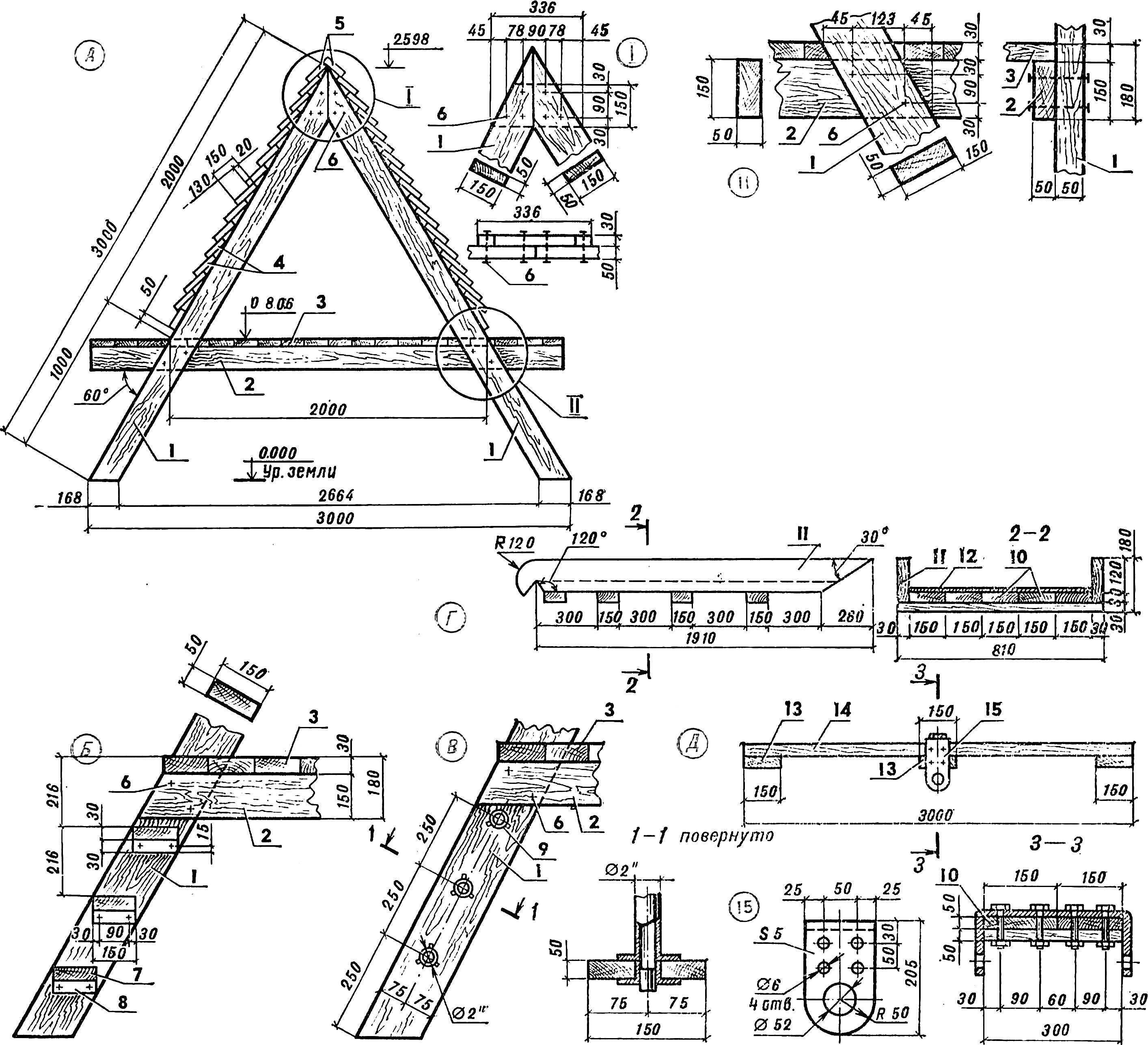 Основные конструктивные элементы игровых устройств для дворовых детских площадок.