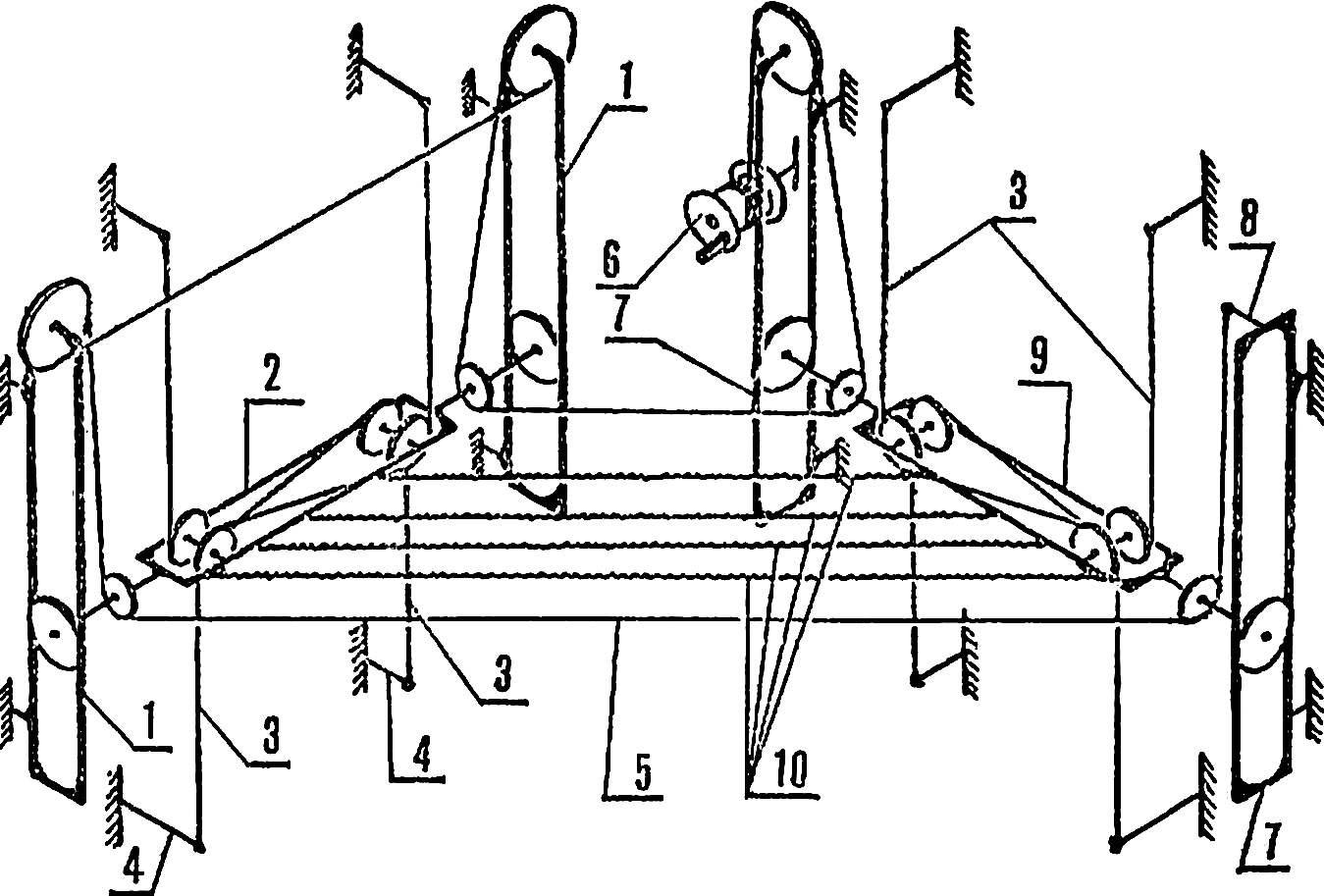 Рис. 1. Принципиальная схема проводки шнуров подъема и противоперекосной системы.