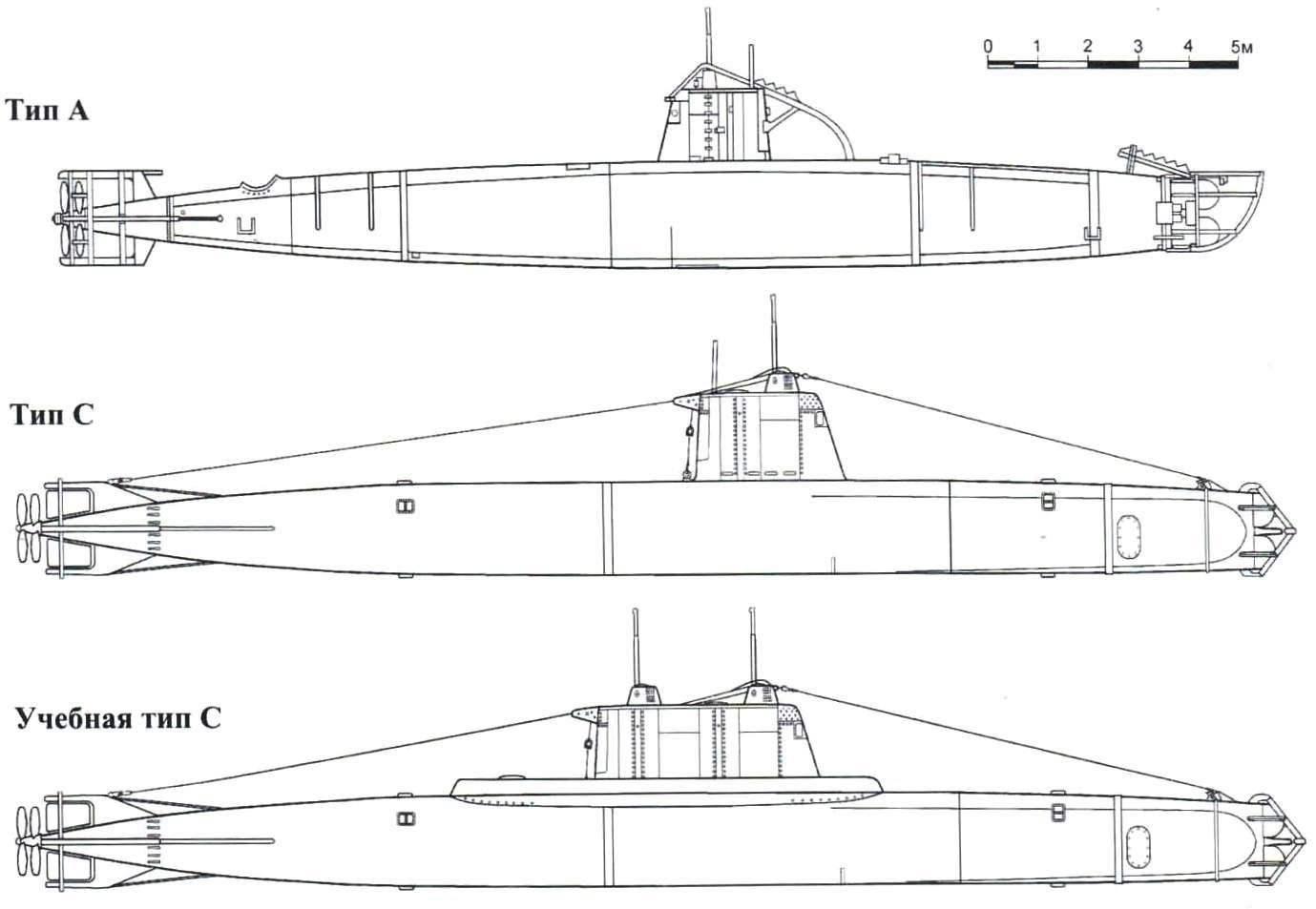 Схемы японских сверхмалых подводных лодок