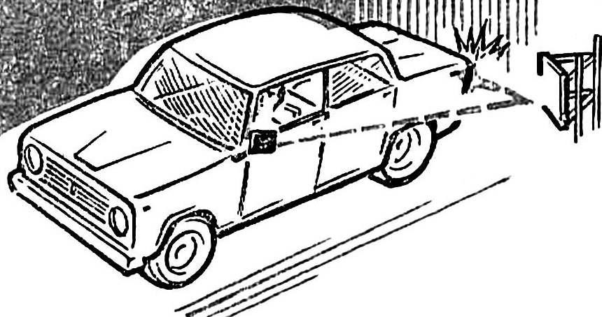 Рис. 2. Способ контроля въезда автомобиля в гараж с помощью зеркал.