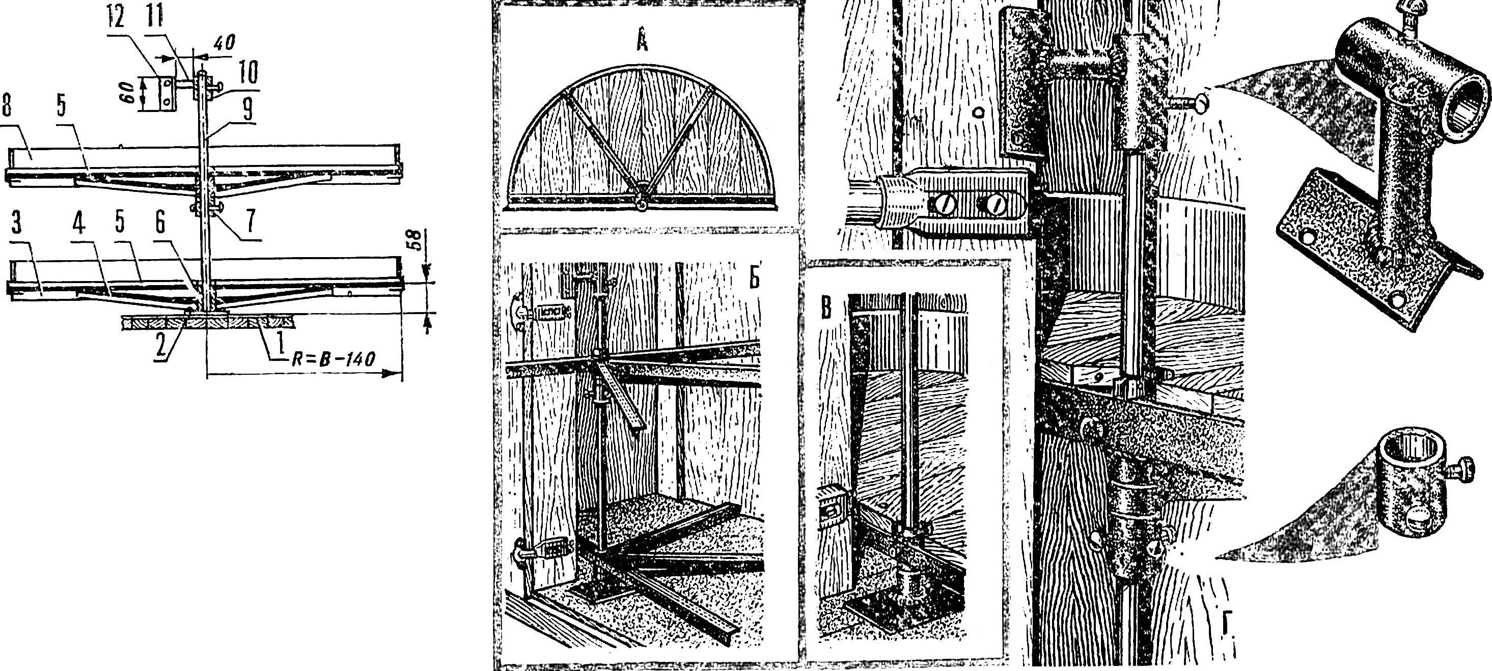 Рис. 3. Поворотный механизм и его схема.