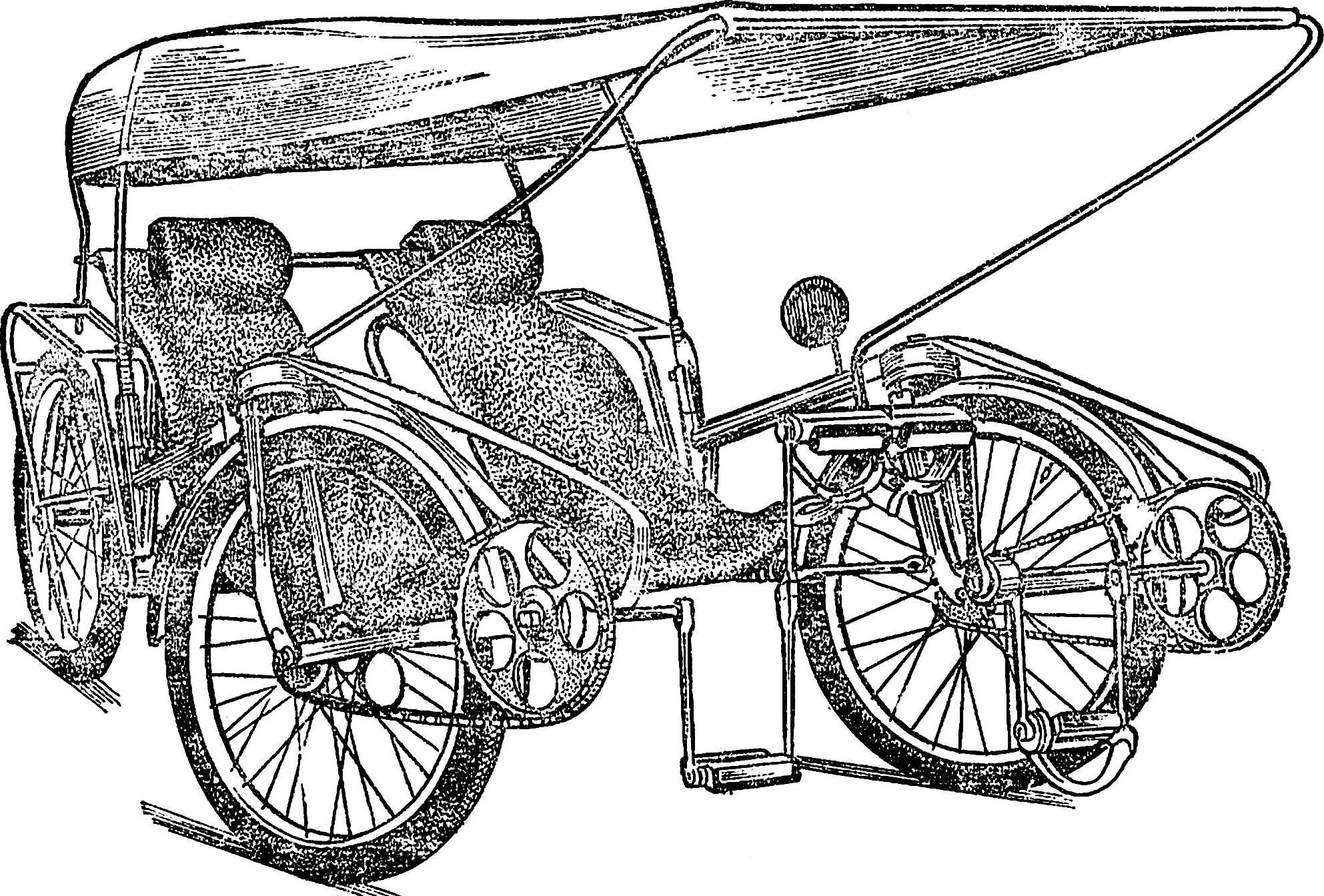Этот двухместный велофаэтон, созданный Е. Каргиным из города Казани, имеет оригинальный привод передних колес: коленчатый вал ножного педального привода является здесь одновременно и поперечной тягой рулевой трапеции.