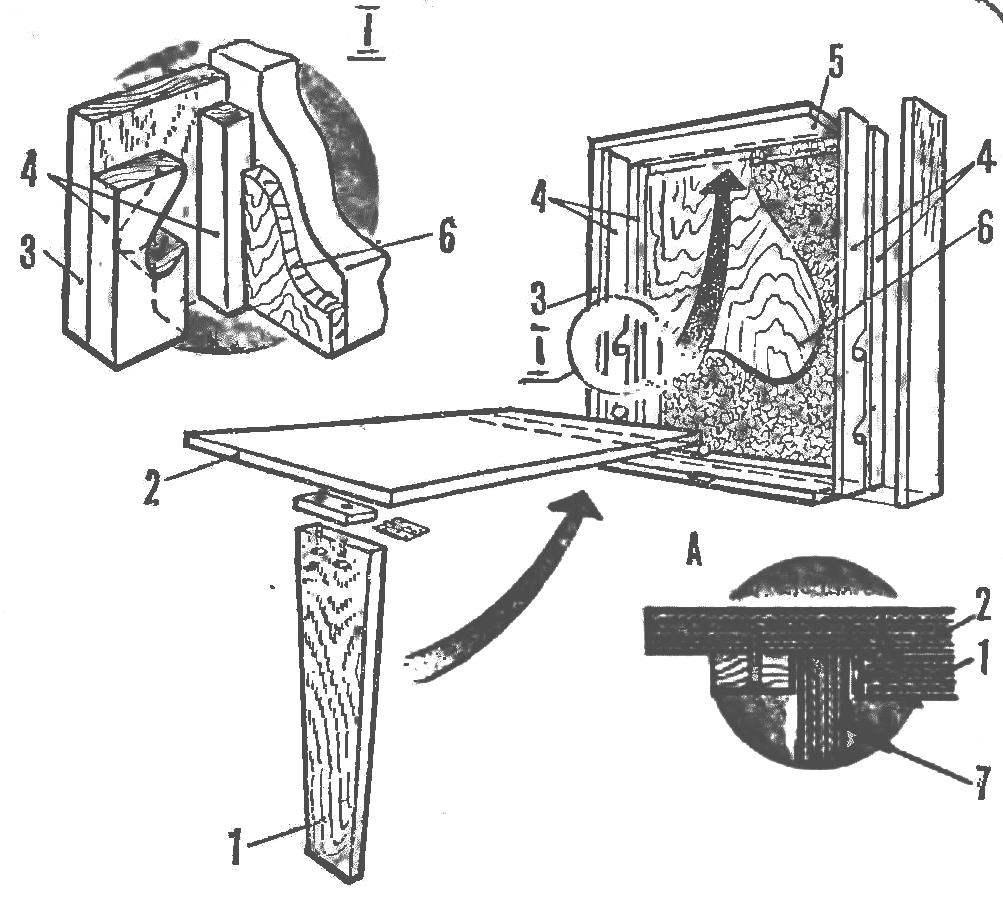 Схема убирающегося стола