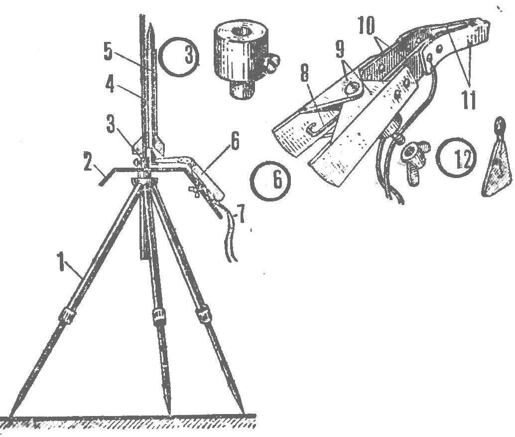 The starting installation for sport model rockets