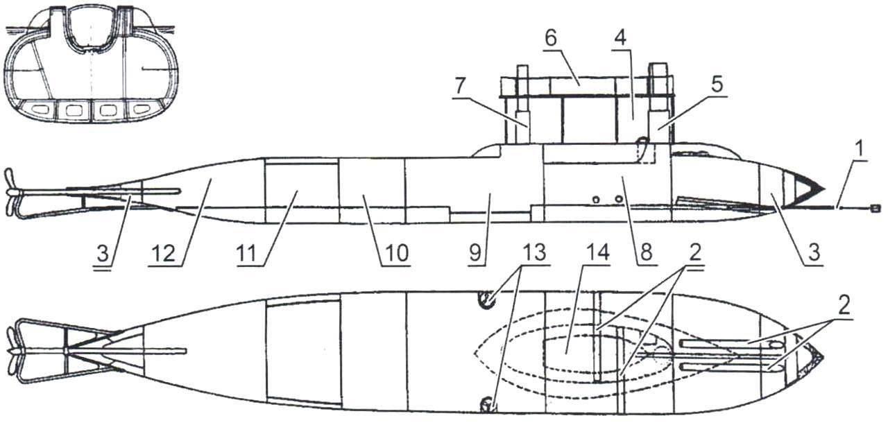Проект подводной лодки Г. Ховгарда, Дания Англия, 1884 г.