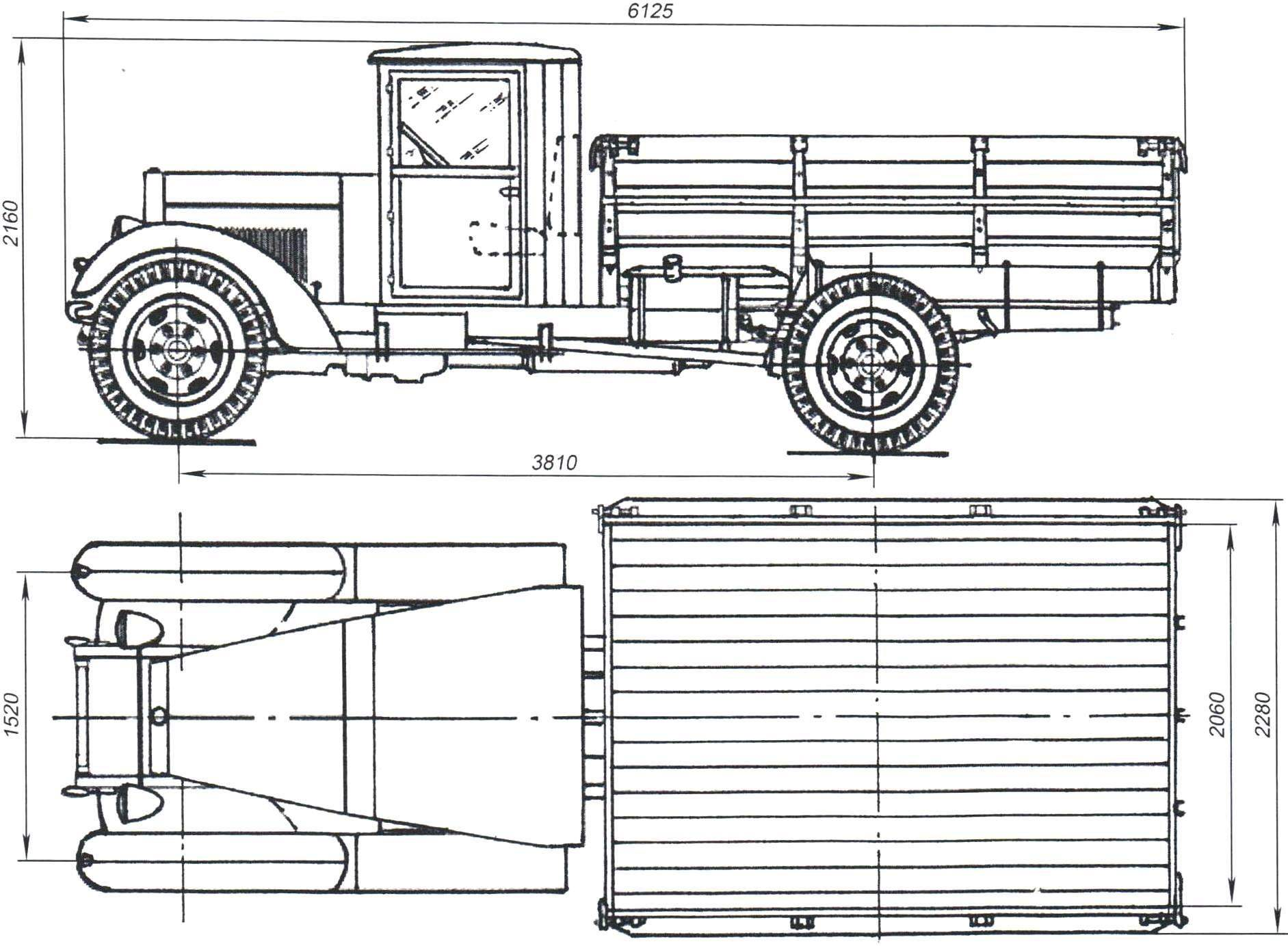 Геометрическая схема автомобиля «УралЗИС-5М» (с февраля 1956 г. - УралЗИС-355)