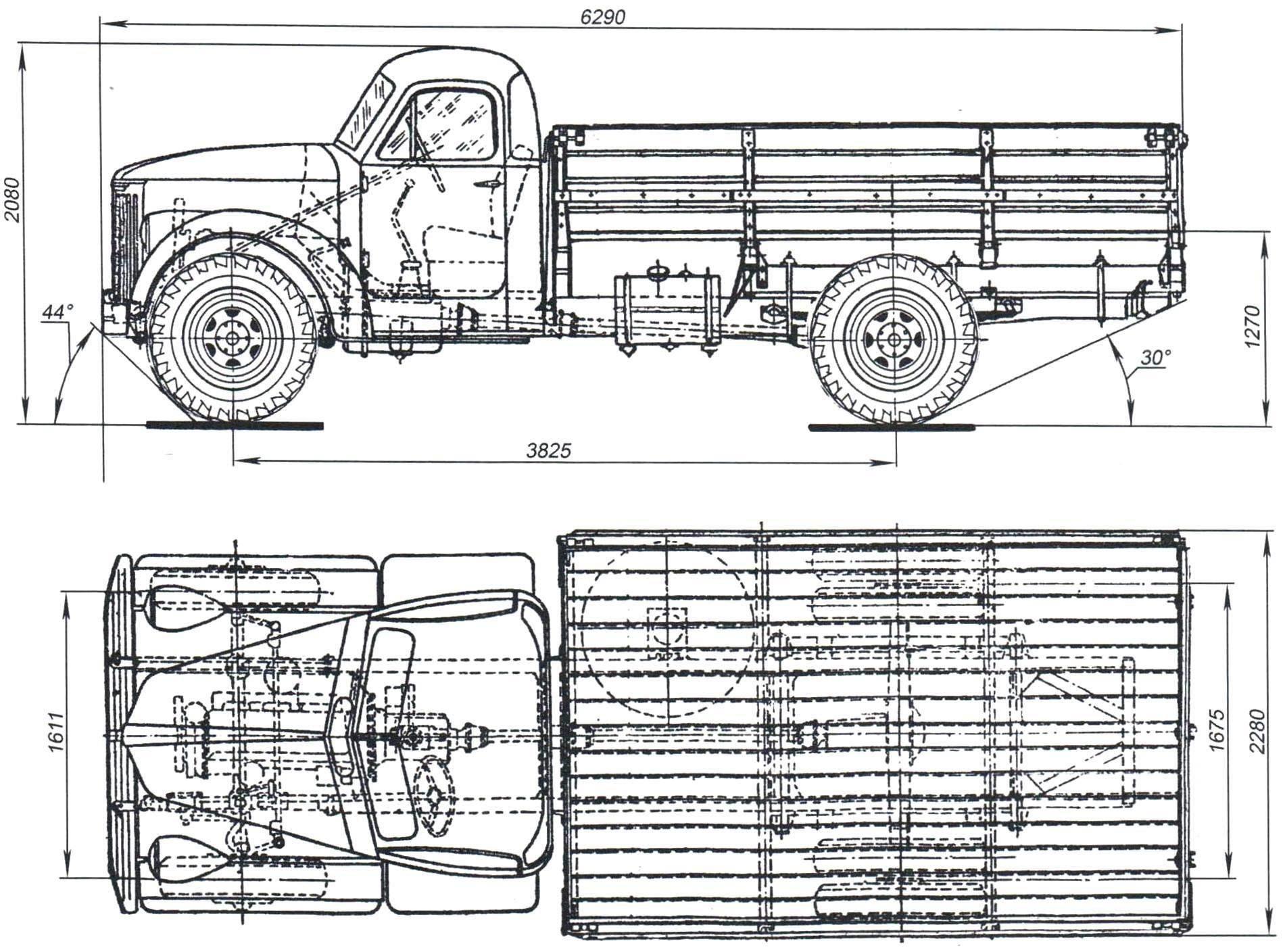 Геометрическая схема автомобиля «УралЗИС-355М»