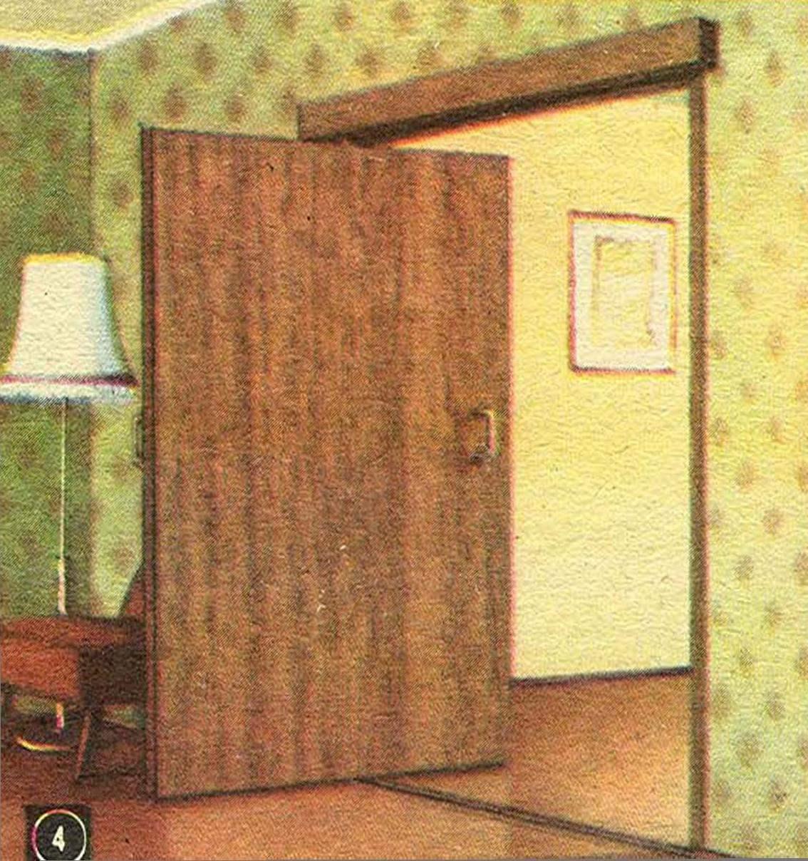 4. Комбинированный вариант: дверь одновременно может поворачиваться и сдвигаться в сторону по направляющим в полу и притолоке. Поэтому при довольно большой ширине она нисколько не загромождает комнату.