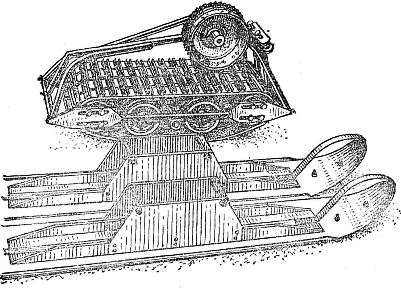 Р и с. 1. Г усенично-лыжиый комплект для мотоцикла с коляской.