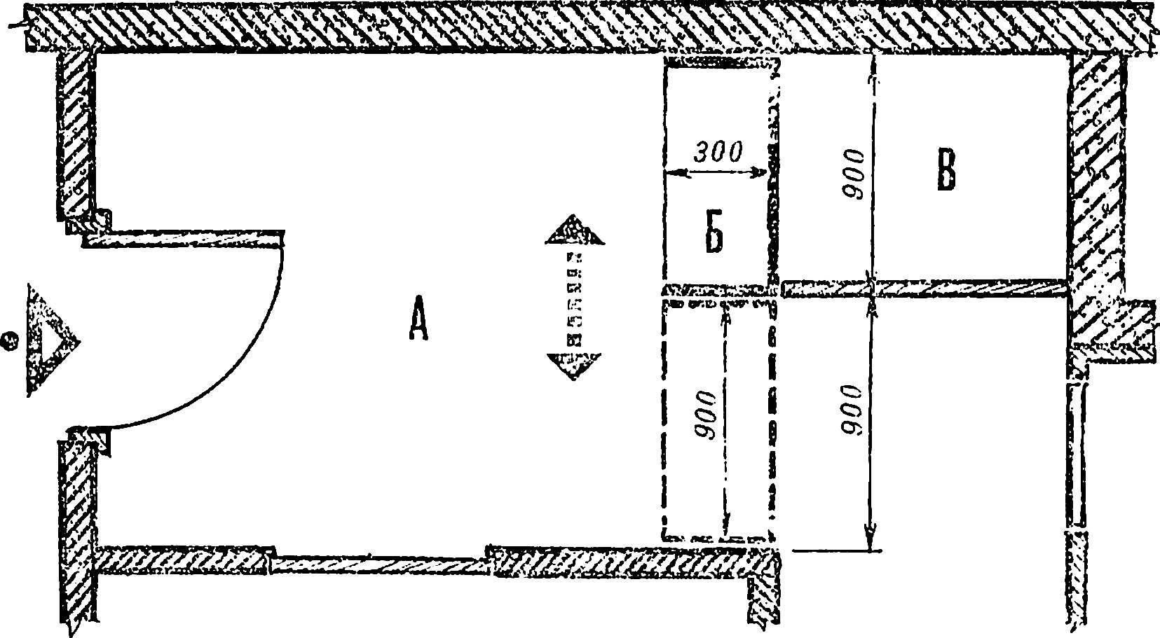 Рис. 1. План прихожей с передвижной вешалкой.