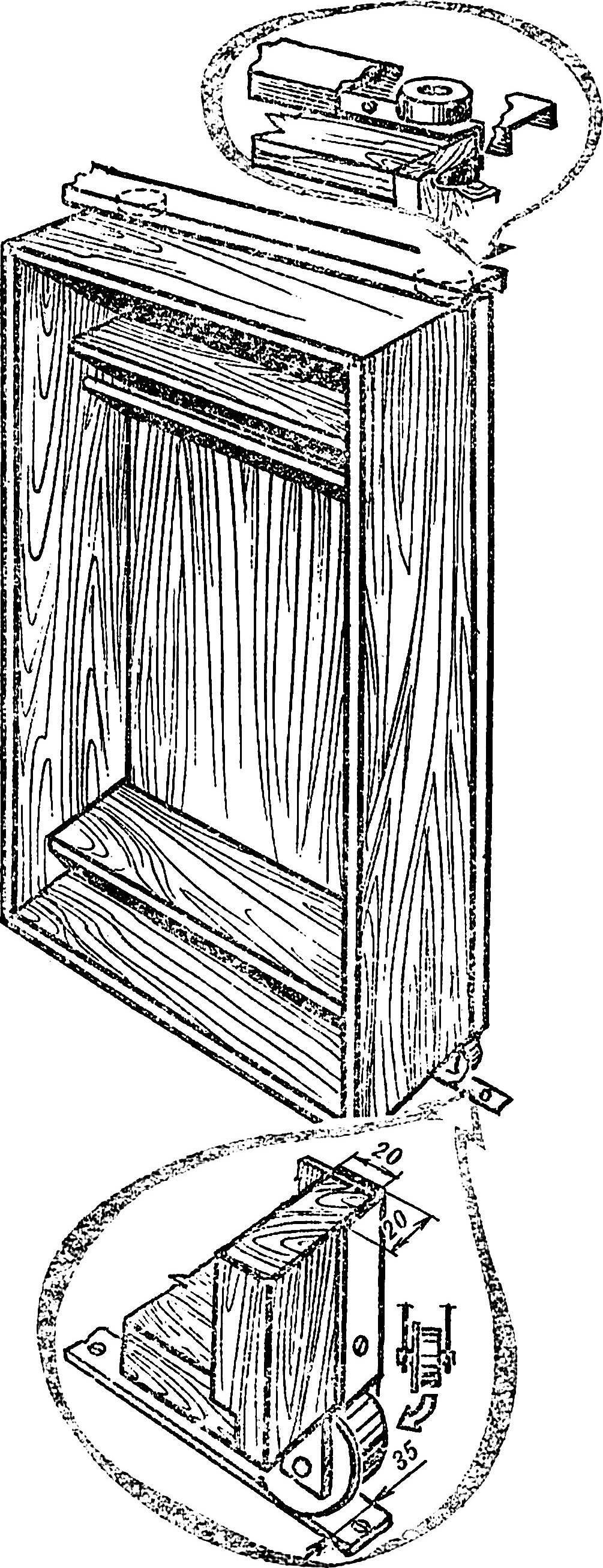 Рис. 3. Вариант решения опорных узлов передвижного шкафа.