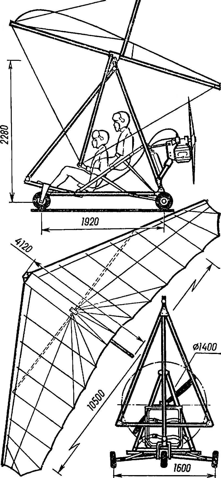 Рис. 4. Двухместный мотодельтаплан МАИ-2 конструкции А. Русака с панельной мототележкой.