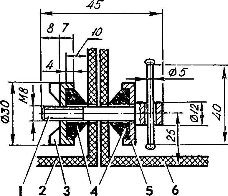 Типовое соединение секций лодки.