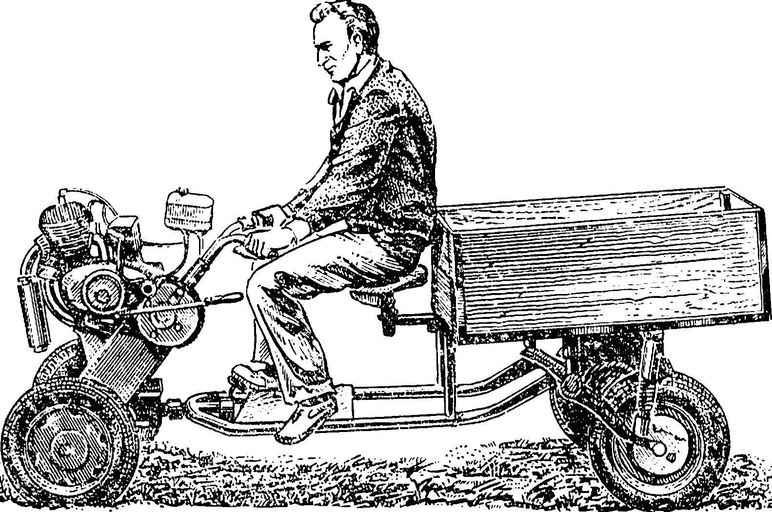Мотоблок «Арсеньевский» на пневмоколесном ходу с тележкой.