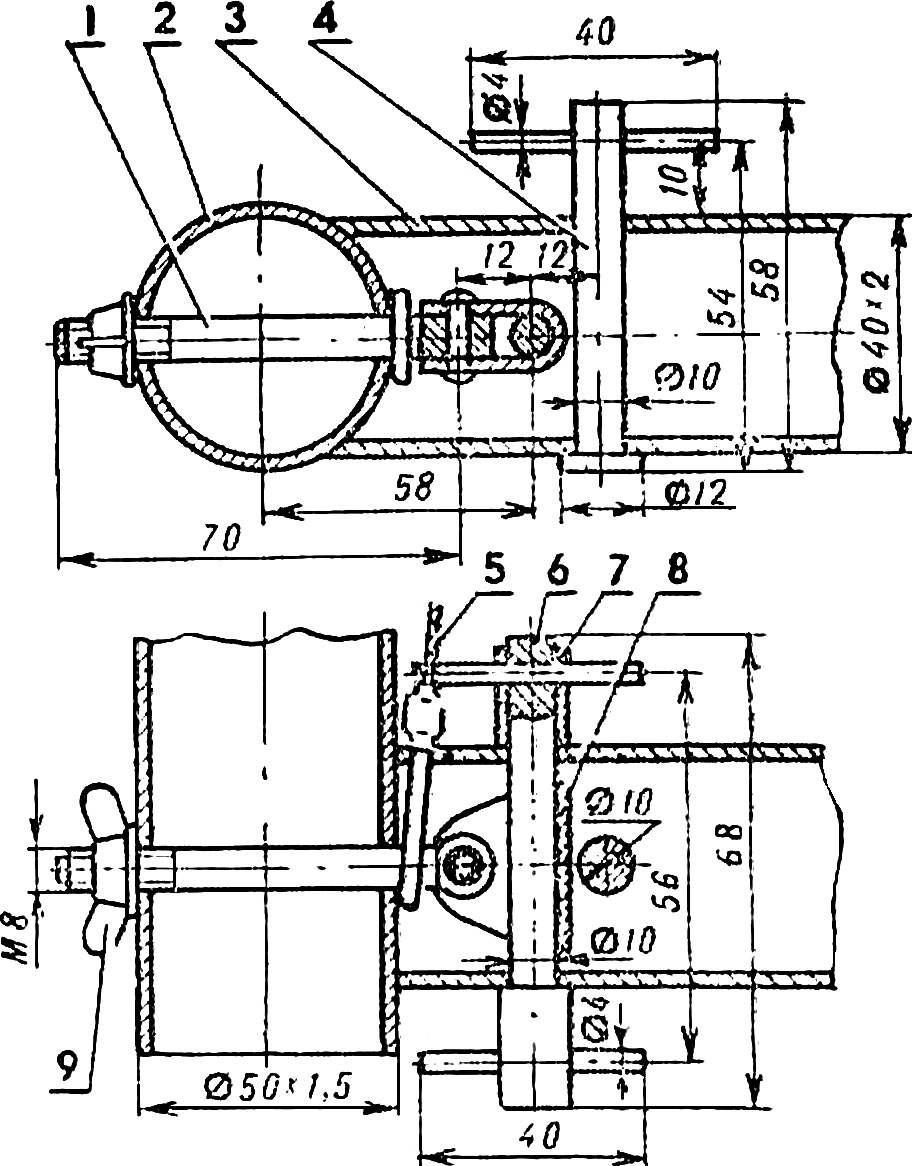 Рис. 7. Типовой носовой (кормовой) соединительный узел стрингера и поперечной балки.