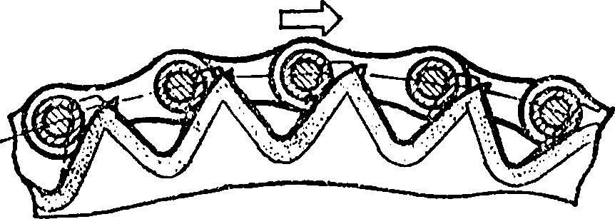 Рис. 2. Характер износа зубьев звездочки, непригодной для дальнейшей эксплуатации.